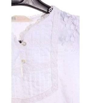 Blusa Niña – H&M en Blanco con Detalles de Encaje de Segunda Mano