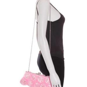 Bolso Clutch Mujer con Rosas en Rosa Claro