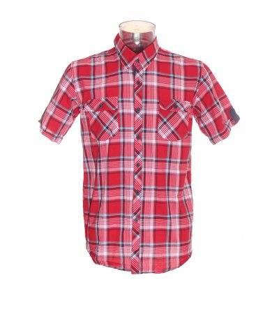 Camisa de Manga Corta Hombre – Zara Young en Rojo con Cuadros de Segunda Mano