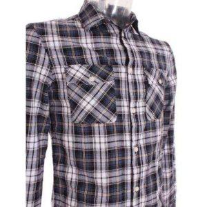 Camisa Hombre –  Bershka en Color Azul y Blanco a Cuadros de Segunda Mano