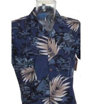 Camisa Hombre – Inside en Azul Oscuro con Estampado Hawaiano