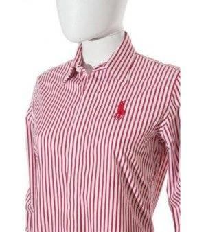 Camisa Mujer – Ralph Lauren a Rayas en Blanco y Rojo de Segunda Mano