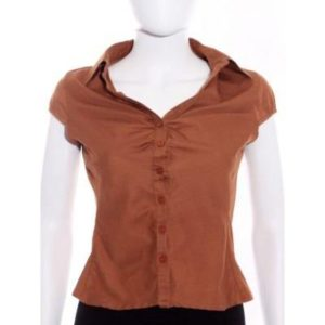 Camisa Mujer – Vidrio de Segunda Mano Fruncida en Pecho en Marrón