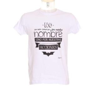 Camiseta Hombre Batman – Friking en Blanco con Frase de Batman