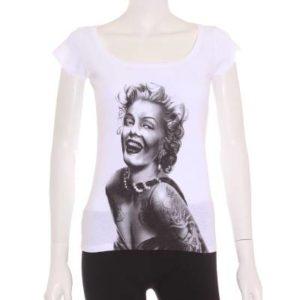 Camiseta Mujer – Friking en Blanco con Estampado de Marilyn Monroe de Segunda Mano
