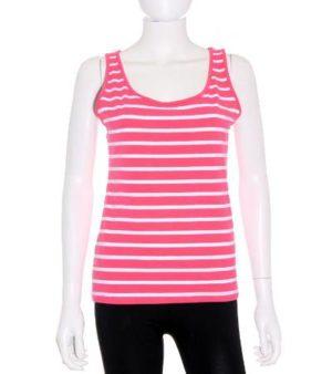 Camiseta Mujer Sin Magas en Color Rosa y Blanco de Segunda Mano