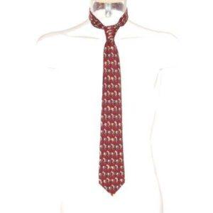 Corbata Hombre – D'Armes de Seda en Granate con Estampado de Caballos de Segunda Mano
