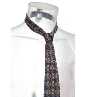 Corbata Hombre de Seda – Doncel en Azul Marino con Estampado en Amarillo