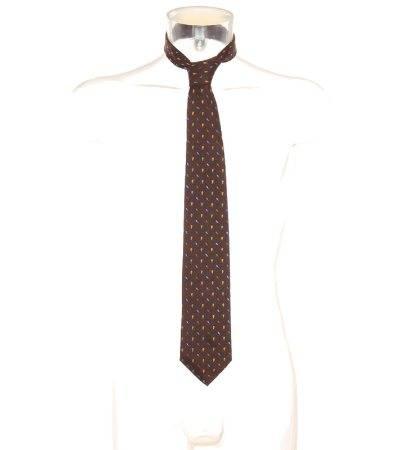 Corbata Hombre de Seda en Marrón con Estampado de Segunda Mano