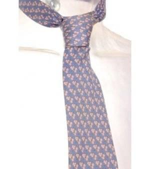 Corbata Hombre – Lester de Seda en Gris con Estampado en Rosa Claro de Segunda Mano