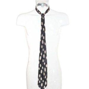 Corbata Hombre – Liney en Negro con Lunares Alargados en Beige