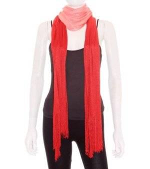 Fular Mujer de Punto Degradado en Rojo Rosa Flecos
