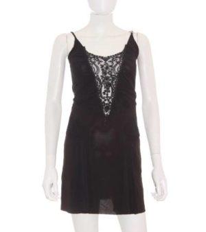 Vestido Mujer – E&L de Fiesta en Negro con Abalorios y Encaje de Segunda Mano