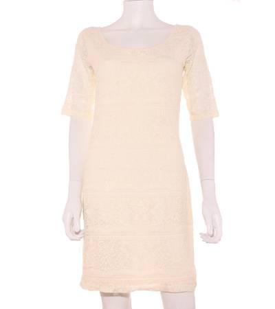Vestido Mujer – Lefties de Encaje en Color Crema de Segunda Mano