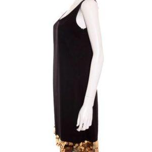 Vestido Mujer – Nina Bacconi de Fiesta en Negro con Lentejuelas Doradas de Segunda Mano