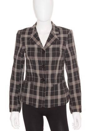 Americana Mujer – Zara Classic en Negro con Cuadros en Color Crema de Segunda Mano