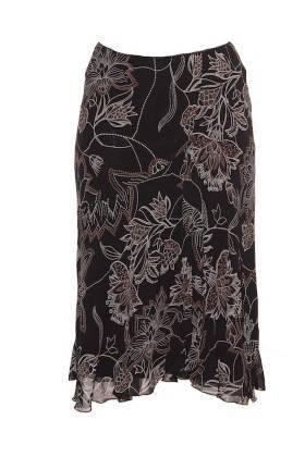 Falda Elástica Mujer – Caroll en Negro con Estampado Floral de Segunda Mano