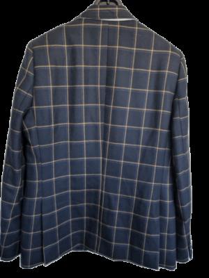 Chaqueta Credo azul marino haciendo cuadros con líneas en tonos marrón claro. Talla 52. ETIQUETA DE TIENDA.